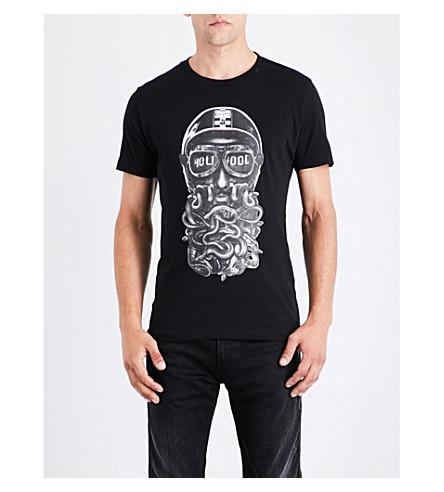 REPLAY Biker-print cotton-jersey T-shirt (Black