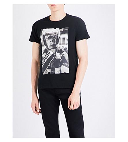 REPLAY Monkey Biker-print cotton-jersey T-shirt (Black