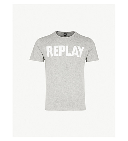 REPLAY Printed long-sleeved cotton-jersey top (Grey