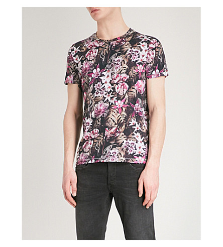 REPLAY Floral-print cotton-jersey T-shirt (Pink+multi