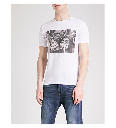 REPLAY Graphic-print cotton-jersey T-shirt (White