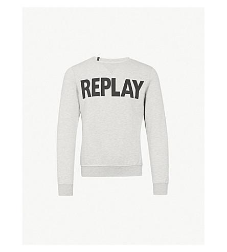 REPLAY Logo-print cotton-jersey sweatshirt (Grey