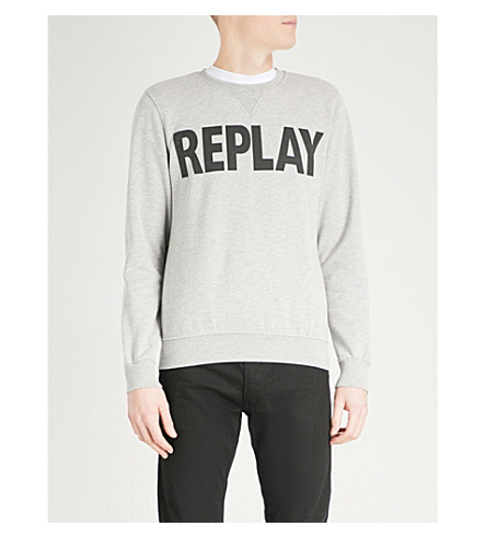 REPLAY Logo-print cotton-jersey sweatshirt (Grey