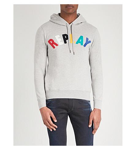 REPLAY Flocked-logo cotton-jersey hoody (Grey