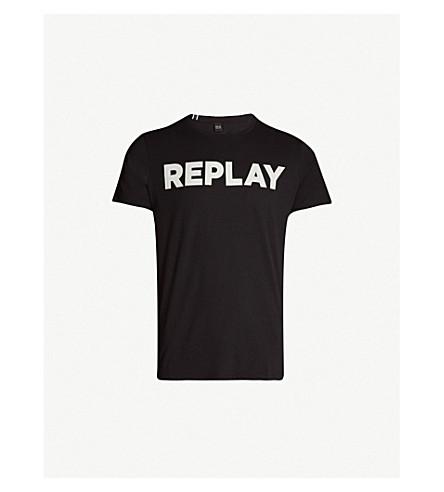 REPLAY Logo-print cotton-blend T-shirt (Black