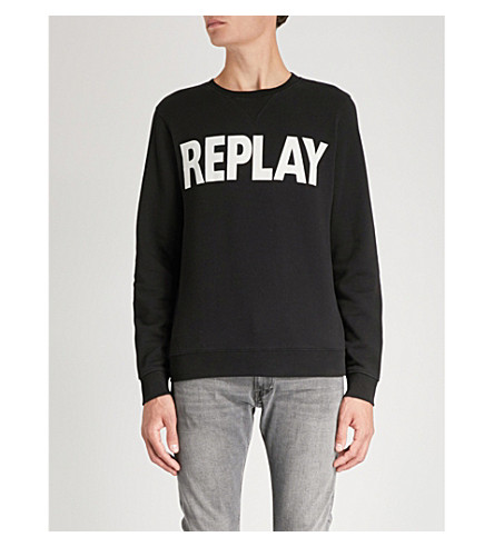 logo Sudadera jersey de estampado algodón de con de Negro REPLAY Sqwg11
