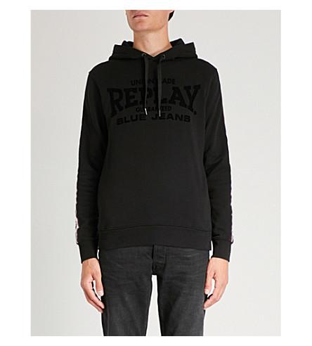 REPLAY Side-stripe flocked cotton-jersey hoody
