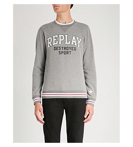 REPLAY Destroyed Sport-print cotton-blend sweatshirt (Melange grey