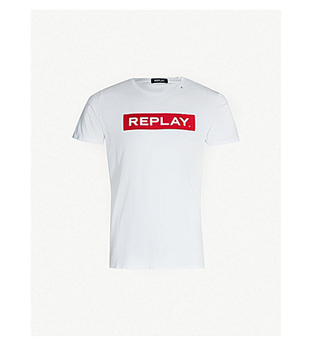 REPLAY Logo-print crewneck cotton-jersey T-shirt (White