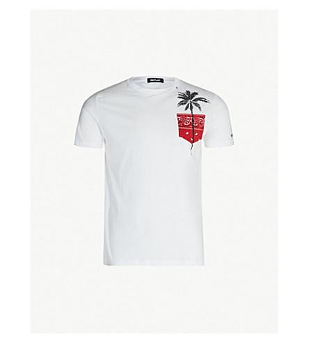 REPLAY Palm-tree print cotton-jersey T-shirt (White