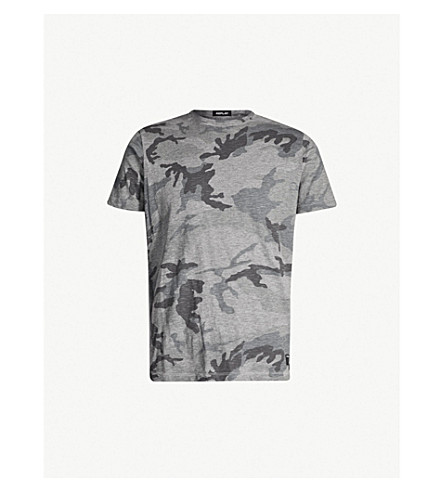 REPLAY Camouflage print cotton-jersey T-shirt (Grey camouflage