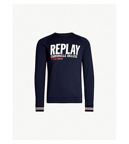 REPLAY Chronicle Deluxe cotton-jersey sweatshirt (Blue