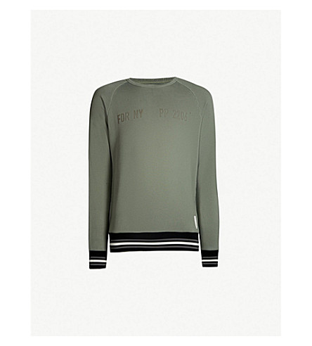 REPLAY Sport Lab striped-trim rubberised-patch cotton-jersey sweatshirt (Light military