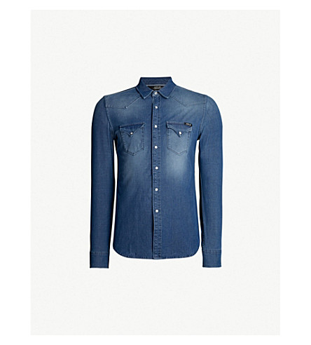 REPLAY Faded stretch-denim shirt (Light indigo