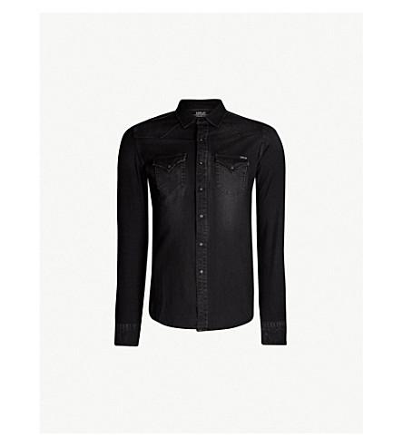 REPLAY Faded stretch-denim shirt (Washed black