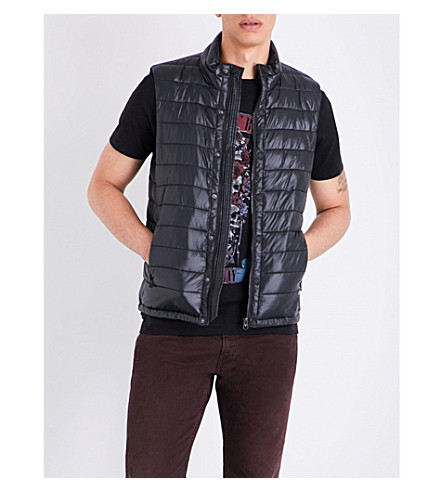 REPLAY Quilted shell gilet (Black