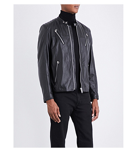 REPLAY Quilted-shoulders leather biker jacket (Black