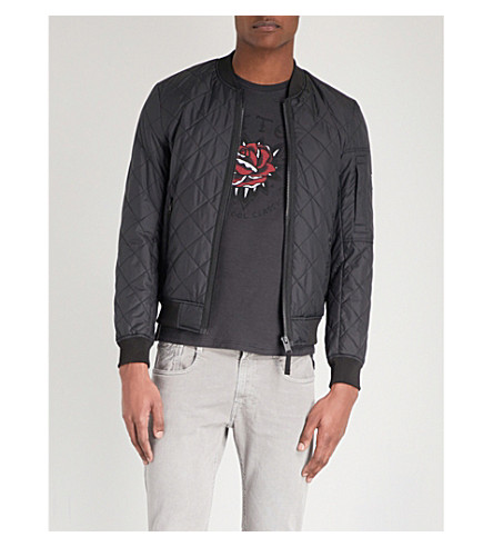 REPLAY Quilted shell bomber jacket (Black