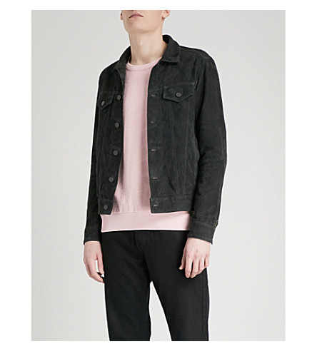 REPLAY Suede trucker jacket (Black