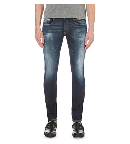 REPLAY Anbass Hyperflex slim-fit skinny jeans (Navy