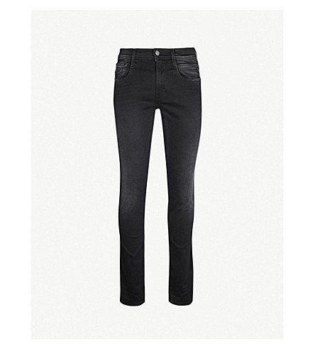REPLAY Anbass hyperflex slim-fit skinny jeans (Black