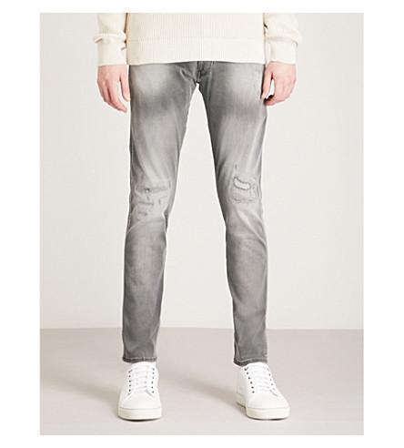 REPLAY Hyperflex distressed slim-fit skinny jeans (Light+grey