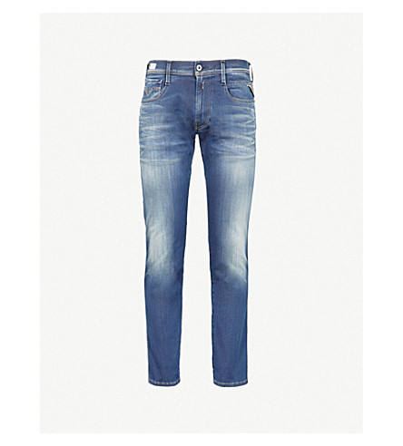 REPLAY Anbass Hyperflex slim-fit skinny jeans (Mid+blue