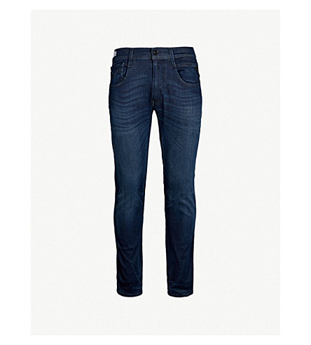 REPLAY Anbass turn-up slim-fit skinny jeans (Dark blue