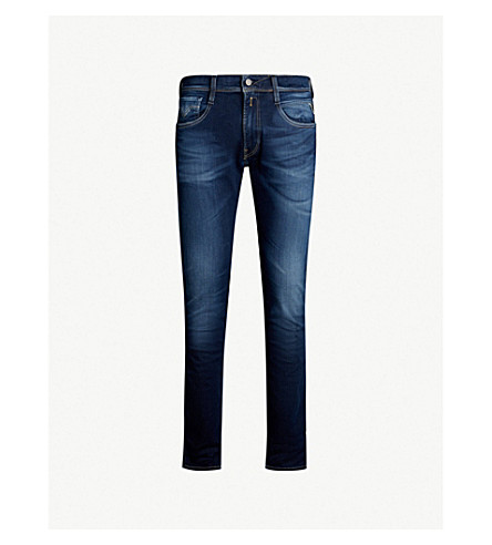 REPLAY Anbass Hyperflex faded slim-fit skinny jeans (Dark blue