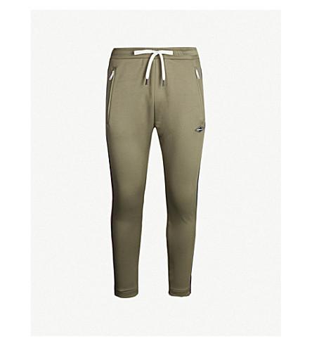 REPLAY Side stripe stretch-jersey jogging bottoms (Light military