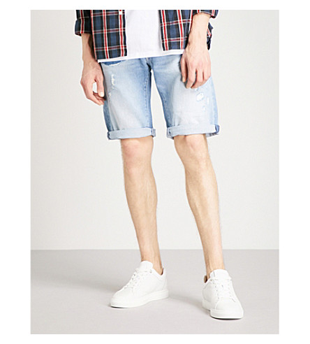REPLAY Waitom slim-fit stretch-denim shorts (Light+wash