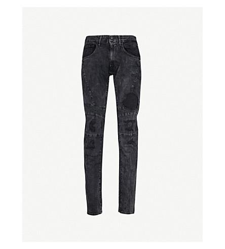 REPLAY Zaldok distressed slim-fit skinny jeans (Washed+black