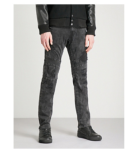 REPLAY Zaldok distressed slim-fit skinny jeans (Washed+black