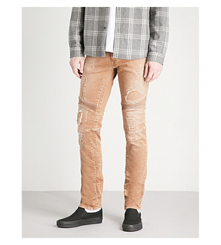 REPLAY Zaldok distressed slim-fit skinny biker jeans (Tan