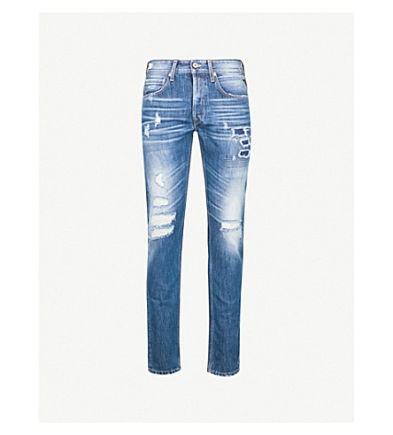 REPLAY Ronas distressed slim-fit tapered jeans (Mid+blue