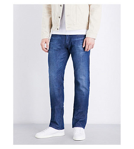REPLAY Straight regular-fit mid-rise jeans (Mid+blue
