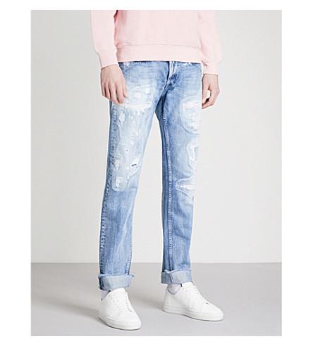 REPLAY Grover Broken Edge regular-fit straight jeans (Light+wash