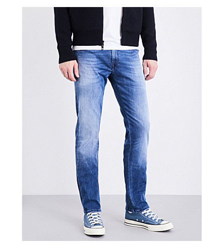 REPLAY Grover Hyperflex slim-fit tapered jeans (Light+blue
