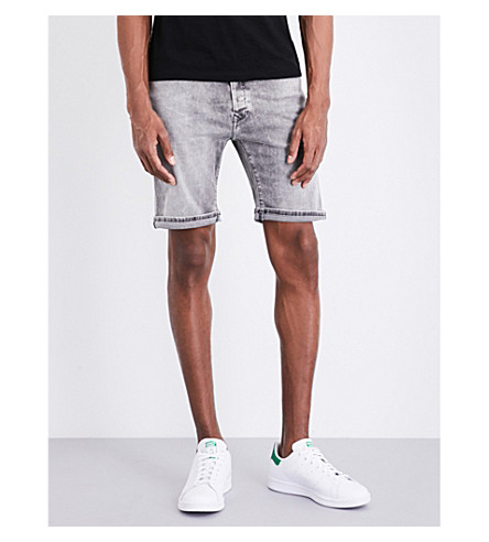 REPLAY Anbass Hyperflex mid-rise cotton shorts (Grey+washed