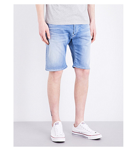 REPLAY Anbass Hyperflex mid-rise stretch-denim shorts (Light+stone+wash