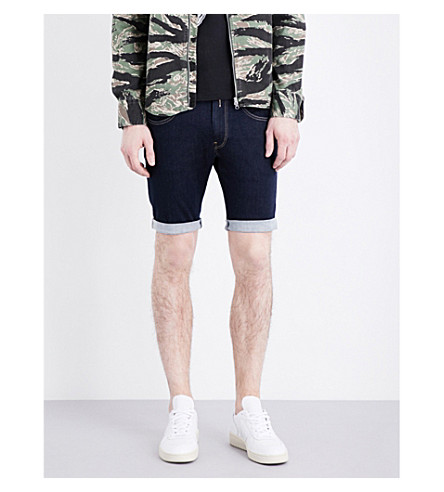 REPLAY Anbass Hyperflex mid-rise stretch-denim shorts (Clean+rinse