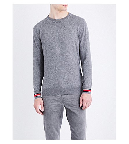REPLAY Contrast cuff cotton and wool-blend jumper (Grey+melange