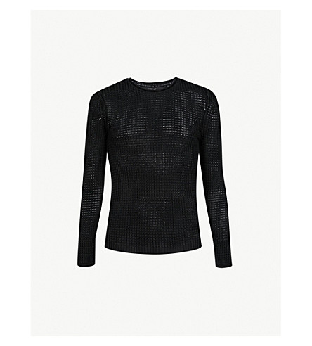 REPLAY Waffle-knit cotton jumper (Black