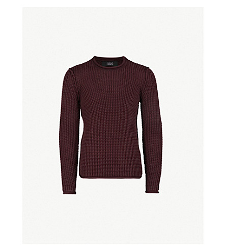 REPLAY Waffle-knit cotton jumper (Bordeaux
