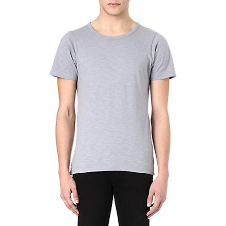 DENHAM Button-detail t-shirt (Grey