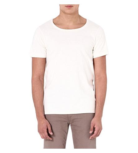 DENHAM Boat-neck t-shirt (Ecru