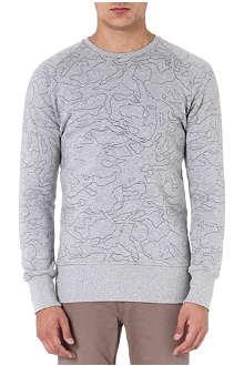 DENHAM Aqua-print sweatshirt