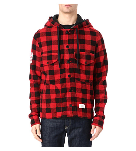 TRUE RELIGION Hooded check jacket (Burgandy
