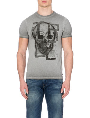 TRUE RELIGION Skull and stud-detail cotton-jersey t-shirt