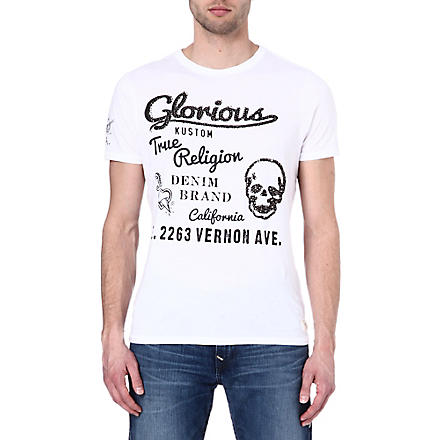 TRUE RELIGION Raw edge t-shirt (White